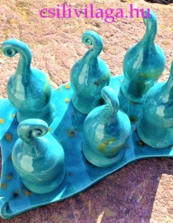 Kézműves Kerámia Türkiz pálinkás asztali Letehetetlen Betyárpohár készlet