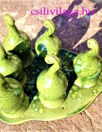 Kézműves Kerámia Zöld pálinkás asztali Letehetetlen Betyárpohár készlet